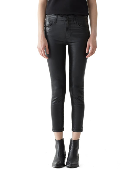 AGOLDE Sophie High-Rise Skinny Leatherette Cropped Jeans in Black