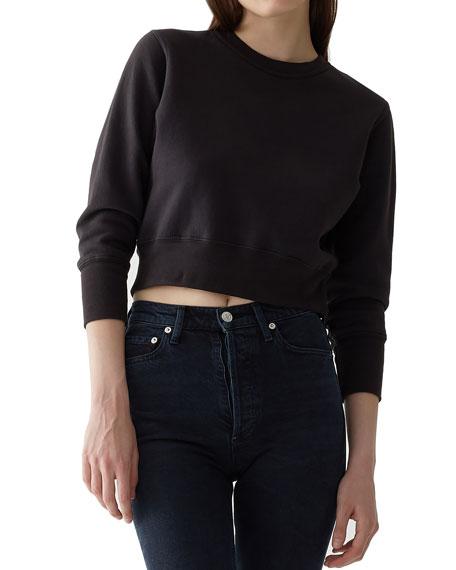 A GOLD E Shrunken Garment-Dyed Cropped Sweatshirt in Black