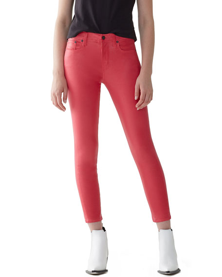 A GOLD E Sophie High-Rise Skinny Cropped Leatherette Jeans in Dark Pink