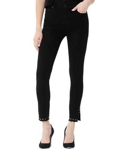 Rocket Cropped High-Rise Jeans with Stud-Split Hem