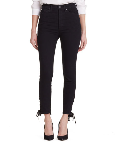 Olivia High-Rise Lace-Up Skinny Ankle Jeans