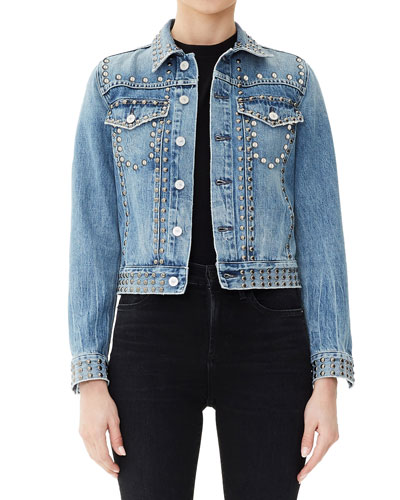 Cleo Studded Cropped Denim Jacket