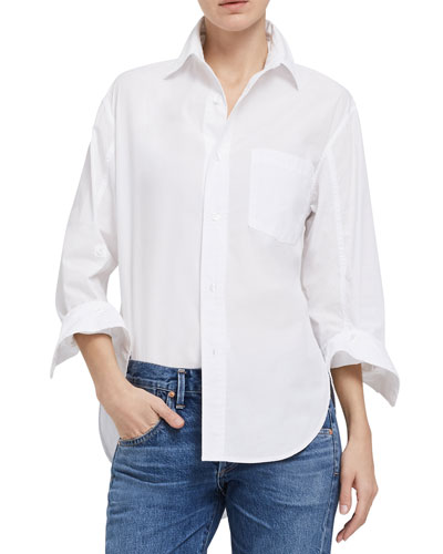 Kayla Button-Front Cotton Shirt
