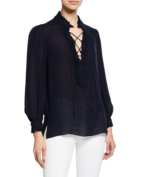 Kobi Halperin Marlie Lace-Up Long-Sleeve Blouse