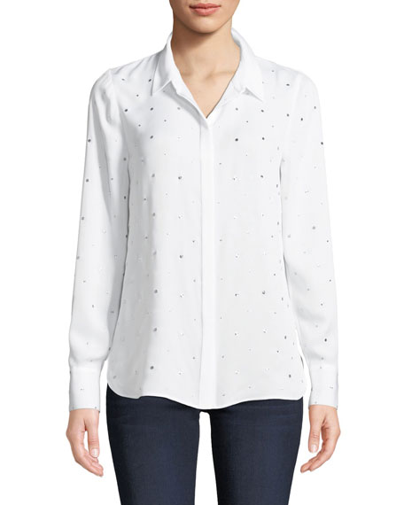 Kobi Halperin Shaelyn Dotted Button-Front Long-Sleeve Silk Blouse