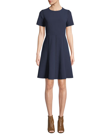 Kobi Halperin Cheyenne Jewel-Neck Short-Sleeve A-Line Dress