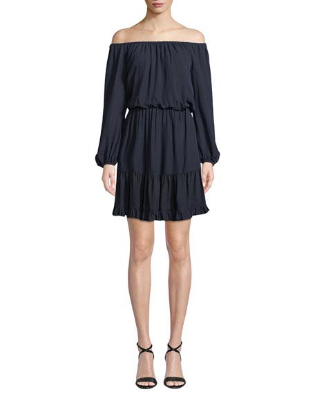 Kobi Halperin Brielle Off-the-Shoulder Long-Sleeve Dress