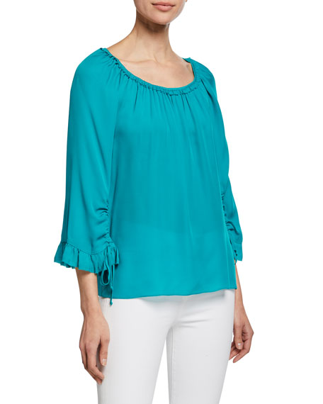 Kobi Halperin Kena Scoop-Neck 3/4-Sleeve Silk Blouse