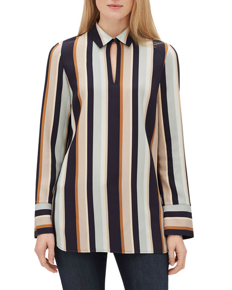 90f228a5 Lafayette 148 New York Agatha Modern Stripe Long-Sleeve Blouse with Chain  Detail