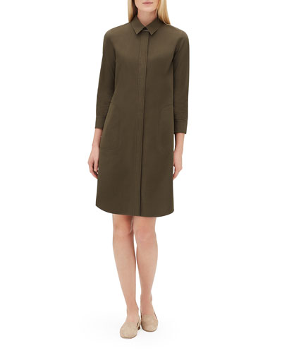 Peggy 3/4-Sleeve Italian Pima Cotton Bi-Stretch Shirt Dress
