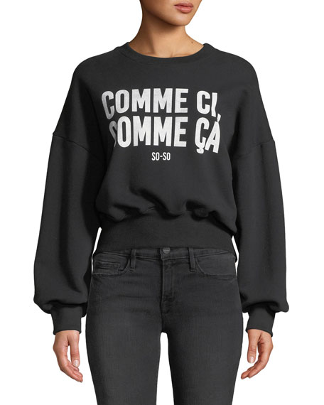 cinq a sept So-So Graphic Drop-Shoulder Pullover Sweater