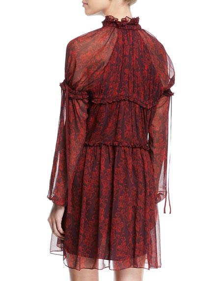 Gisele Floral Silk Ruffle Long-Sleeve Shift Dress