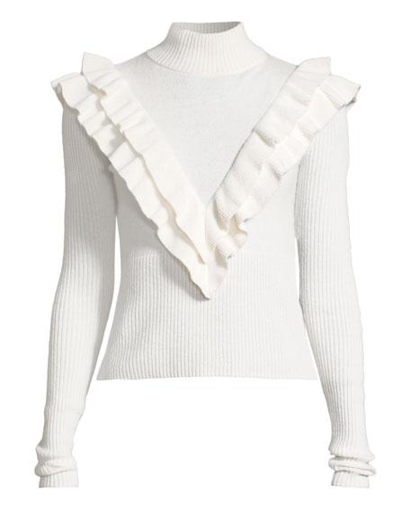Palomino Ruffle Turtleneck Pullover Sweater