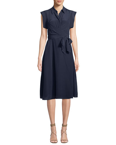 Avery Silk Button-Front Shirtdress