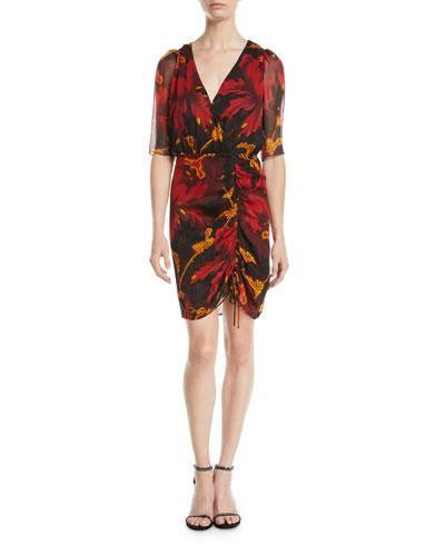 Kelda Floral Ruched Half-Sleeve Dress