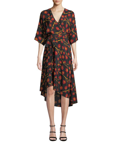 Eloise Floral-Print Asymmetrical Wrap Dress
