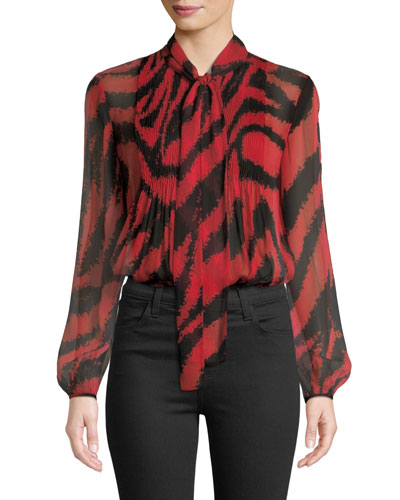 Sam Animal-Print Tie-Neck Silk Top