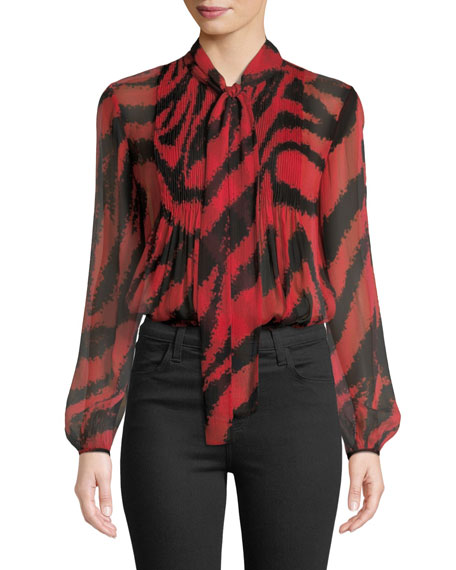Diane von Furstenberg Sam Animal-Print Tie-Neck Silk Top