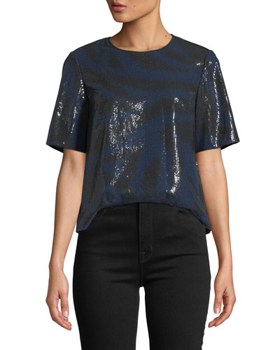 Ali Sequined Animal-Print Tee