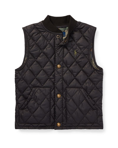Quilted Baseball-Collar Vest, Size 5-7