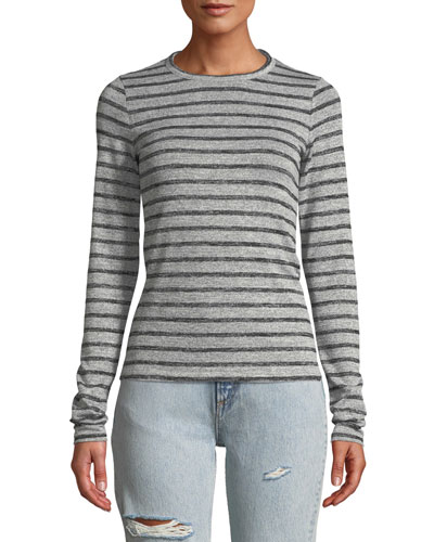 Striped Slim Long-Sleeve Crewneck Top