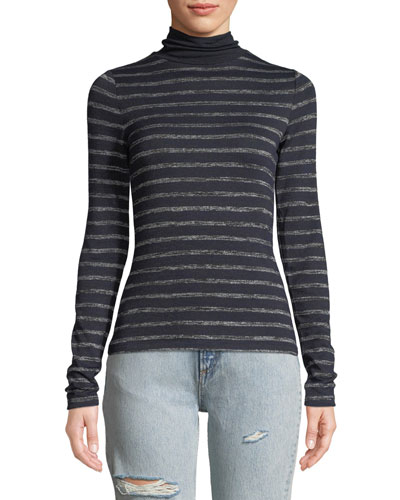 Landon Striped Turtleneck Top