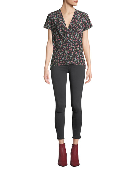 High-Rise Ankle Skinny Jeans with Slit Hem