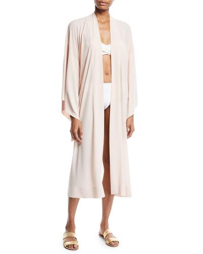 Mid-Calf Kimono-Sleeve Robe