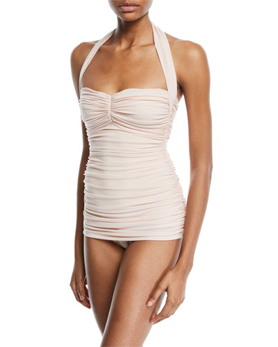 Bill Mio Shirred Halter One-Piece Swimsuit