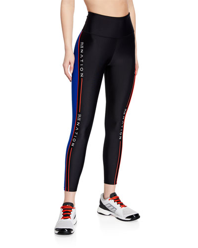 Three Point High-Rise Side-Stripe 7/8 Leggings
