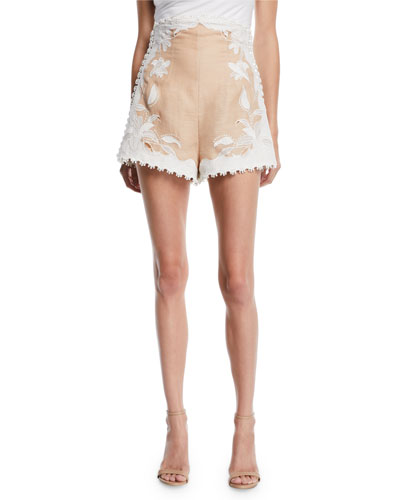 Corsage Lily Embroidered High-Waist Shorts