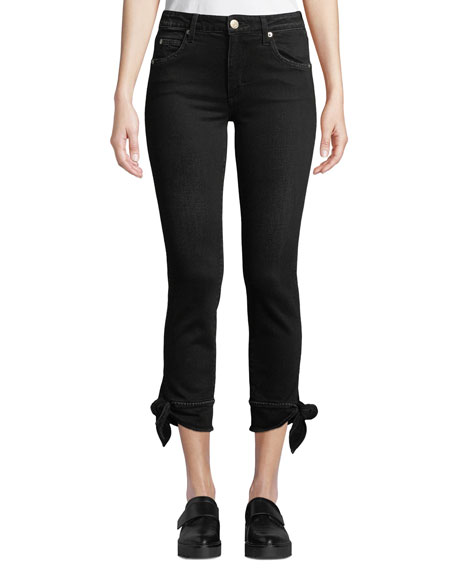 Amo Denim TIE-ANKLE CROPPED MID-RISE SKINNY JEANS