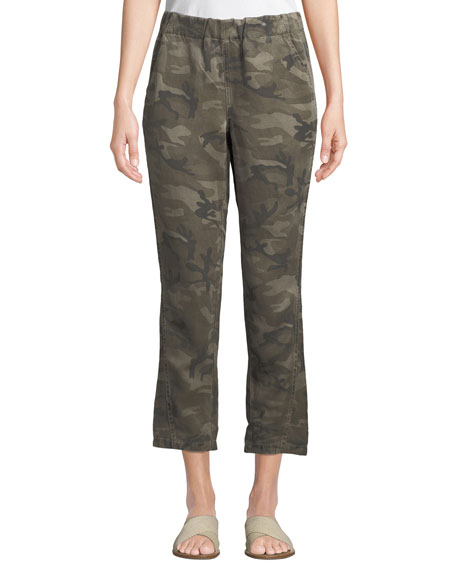 Amo Denim SLOUCHY CAMO-PRINT CROPPED PANTS