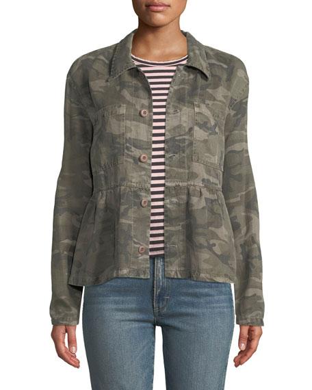 AMO Denim Rosie Camo-Print Cropped Peplum Jacket