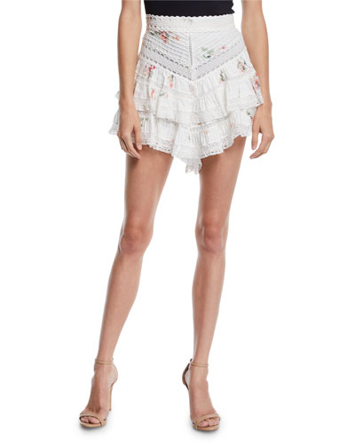 Heathers Floral Pintuck Ruffle Shorts