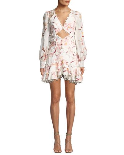 Corsage Floral-Print Cutout-Front  Corsage Bauble Mini Dress