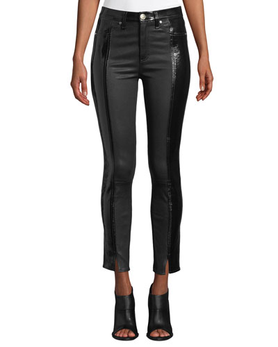 Evelyn Two-Tone Leather Skinny Pants