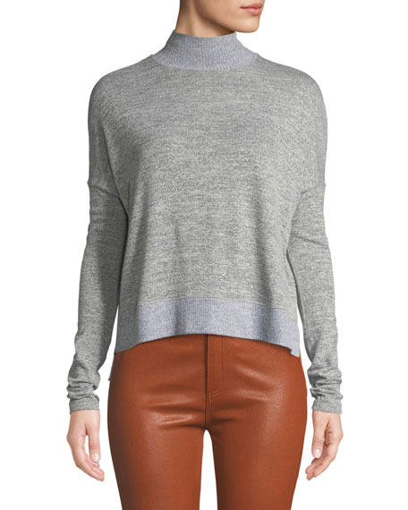 Bowery Dropped-Shoulder Button-Back Turtleneck Sweater