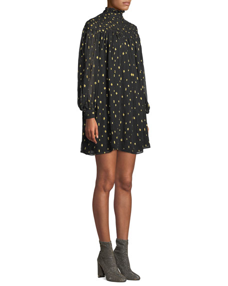 Smocked Metallic Long-Sleeve Mini Dress
