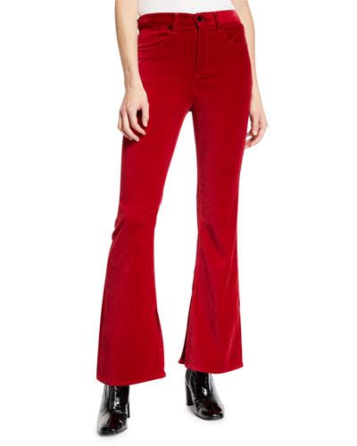 Bella Velvet Flare-Leg Pants