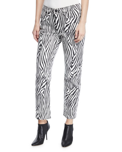 Le High Straight Zebra-Print Ankle Jeans
