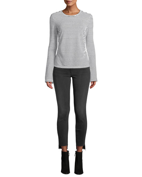 Le High Skinny Ankle Jeans with Raw Stagger Hem