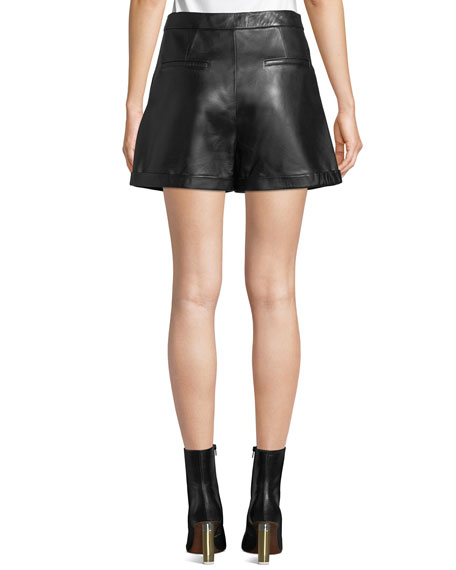 Pleated Leather Culotte Shorts