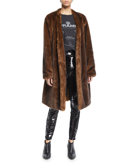 Faux-Mink Open-Front Long Jacket