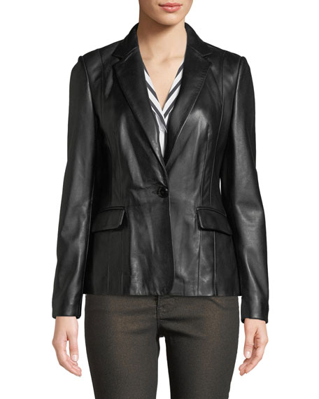 Schoolboy Single-Button Leather Blazer
