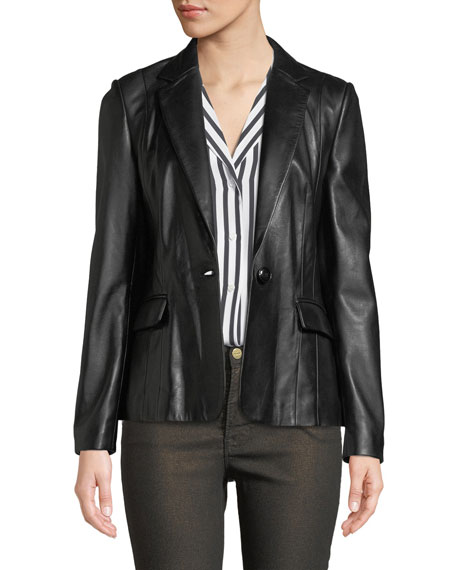 Image 1 of 1: Schoolboy Single-Button Leather Blazer
