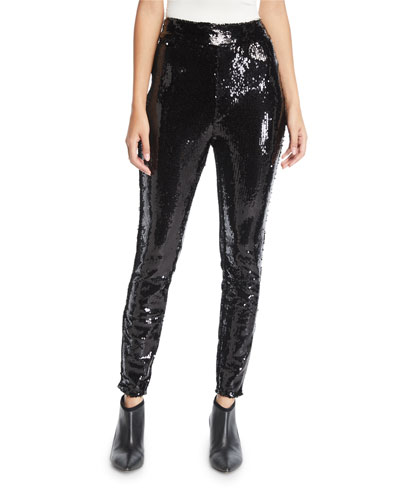 Sequin Pull-On Ankle Skinny Pants