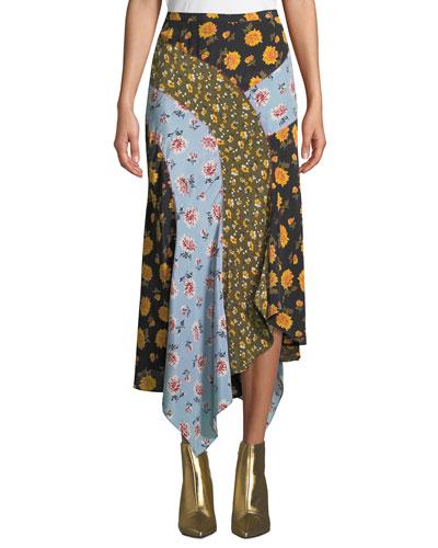 Mac Floral Silk Handkerchief Midi Skirt