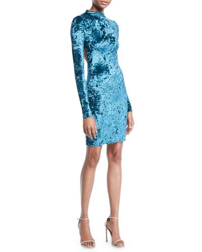Victoire Velvet Open-Back Mock-Neck Dress