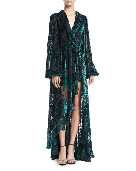 Caroline Constas Dresses OLIVIA VELVET BURNOUT LONG-SLEEVE SILK HIGH-LOW GOWN